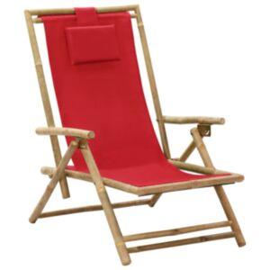 Pood24 allalastava seljatoega puhketool, punane, bambus ja kangas