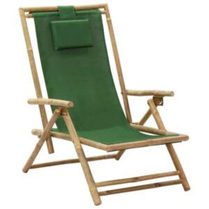 Pood24 allalastava seljatoega puhketool, roheline, bambus ja kangas