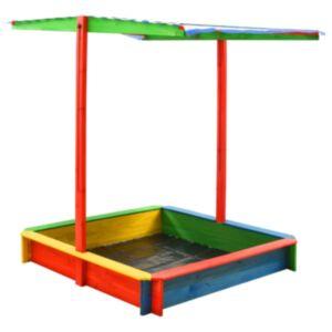 Pood24 liivakast reguleeritava katusega, nulupuit, värviline UV50