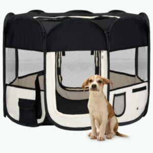 Pood24 kokkupandav koerte mänguaedik kandekotiga, must, 90x90x58 cm