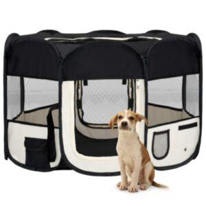 Pood24 kokkupandav koerte mänguaedik kandekotiga, must, 110x110x58 cm