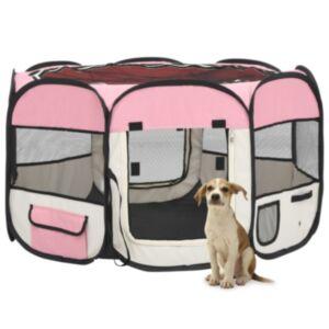 Pood24 kokkupandav koerte mänguaedik kandekotiga, roosa, 110x110x58 cm