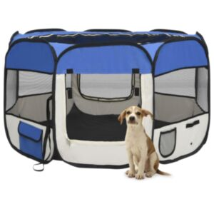 Pood24 kokkupandav koerte mänguaedik kandekotiga, sinine 110x110x58 cm