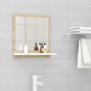 Pood24 vannitoa peeglikapp, valge ja Sonoma tamm, 40 x 10,5 x 37 cm, puitlaastplaat