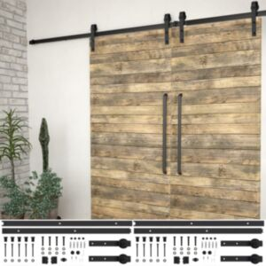 Pood24 liugukse tarvikute komplektid 2 tk 183 cm terasest, must