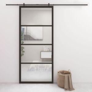 Pood24 liuguks, alumiinium ja ESG-klaas, 90 x 205 cm, must