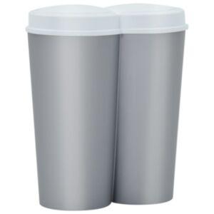 Pood24 kahe konteineriga prügikast, hõbedane ja valge, 50 l