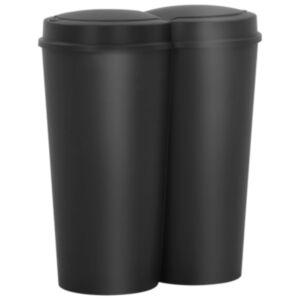 Pood24 kahe konteineriga prügikast, must, 50 l