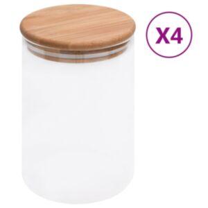 Pood24 klaasist säilituspurgid, bambusest kaanega, 4 tk, 800 ml