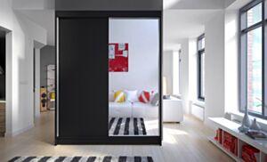 Riidekapp Belgia I-czarny / czarny + lustro