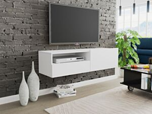 Seinale kinnituv telerilaud CLAUDE CRTVSZ120-biały (valge)