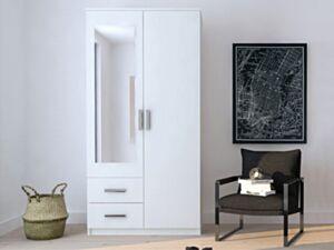 Riidekapp IVAN 2D2S 1-biały / biały + lustro