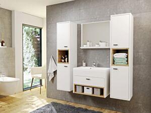 Vannitoakomplekt OLIER II-biały / biały + dąb artisan