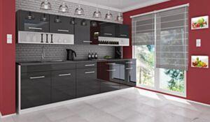 Köök Vanessa 260 cm-Must kõrgläige