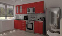 Köögimööbel Klaudia 240cm-Punane kõrgläige