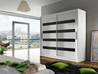 Riidekapp LONDON XI-biały / biały + czarny Lacobel